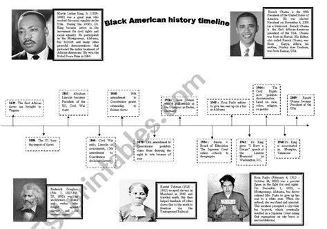 black american history timeline esl worksheet  rejjie