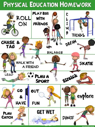 pe poster physical education homework by ejpc2222 teaching resources
