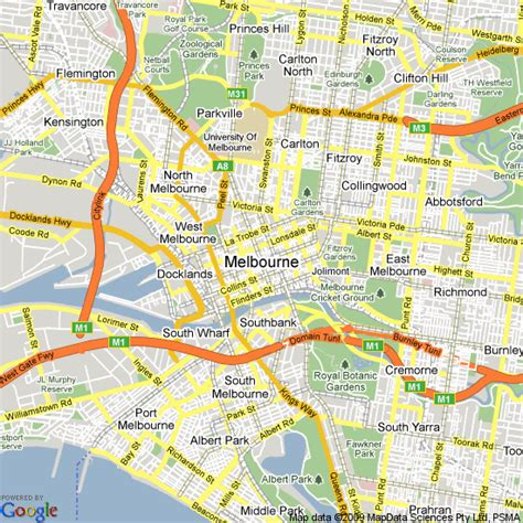 map  melbourne victoria hotels accommodation