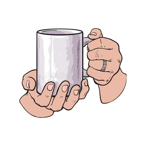 «this was the coffee mug drawing reference photo. Female Hand Holding A Cup With Hot Beverage Stock Vector - Illustration of isolated, cafe: 78737302