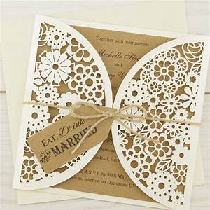 laser cut eat drink and be married pure invitation With rustic laser cut wedding invitations uk
