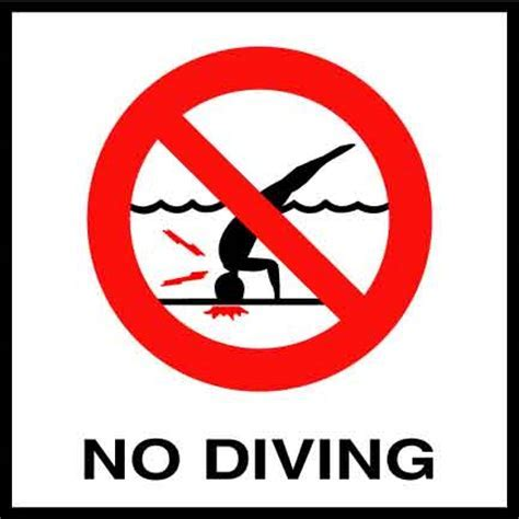 No Diving Symbol   6 Inch Tile with 2 Inch Number