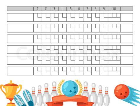 bowling score sheet blank template stock vector