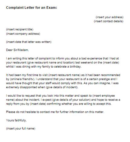 complaint letter   exam sample  letter templates