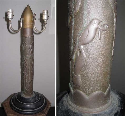 wwi trench art artillery shell lamp  tlc
