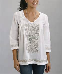 White Embroidered Tunic Top Women