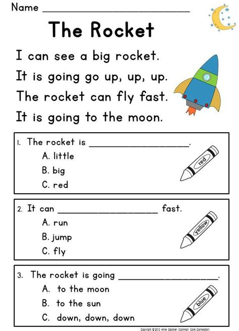 kindergarten reading comprehension passages questions