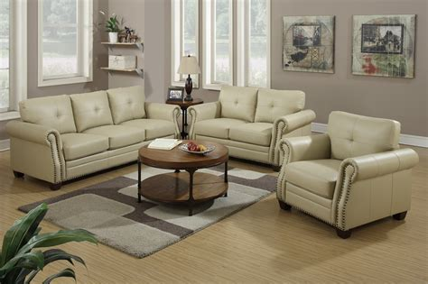 Furniture Leather Sofa Set by Poundex F7784 Beige Leather Sofa And Loveseat Set