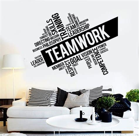 teamwork vinyl wall decal word cloud success office decor worker stickers ig4152 teamwork