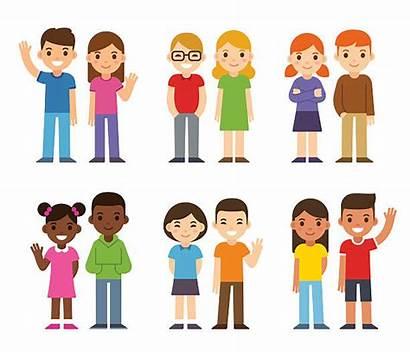 Cartoon Diverse Children Vector Illustration Boys Simple