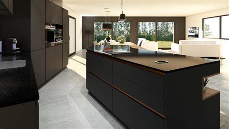 cuisine et cuisine les rouen cuisine gris anthracite bois et cuivre avec îlot design