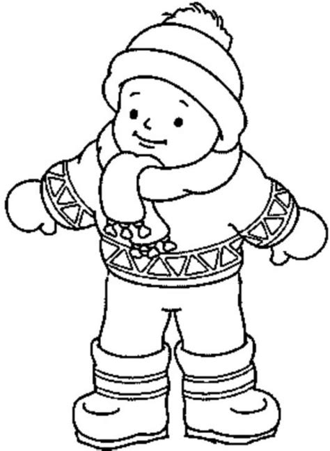 boy wearing winter clothes coloring page khulood