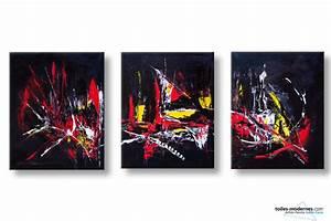 Tableau Triptyque Moderne : tableaux triptyque noir moderne explosion de couleurs cr ation en 3 parties d co raffin e prix ~ Teatrodelosmanantiales.com Idées de Décoration