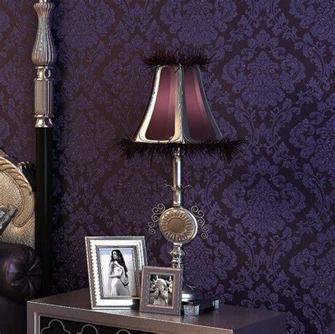luxury vintage dark purple damask wall paper embossed