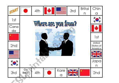 board game esl worksheet  aliciarc