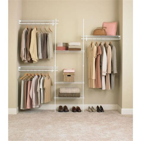 ft white metal closet wire shelving organizer kit