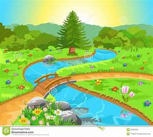 Landscape clipart spring scene - Pencil and in color ...