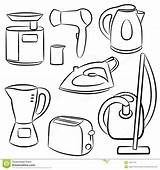 Appliances Household Coloring Electricity Pages Royalty Sketches Dreamstime sketch template