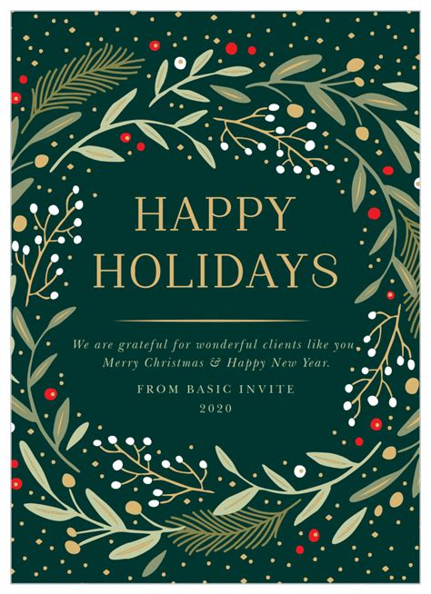 Want some ideas on making an investment in holiday cards last all year long? Gold Wreath Corporate Holiday Cards by Basic Invite