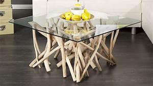 Table Basse En Bois Flotté : table de salon carr e design en verre et bois flott clay gdegdesign ~ Teatrodelosmanantiales.com Idées de Décoration