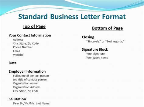 standard letter format  standard business letterhead