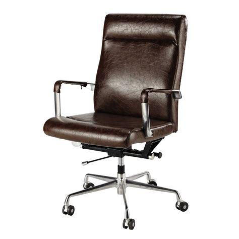 fauteuil bureaux fauteuil de bureau à roulettes marron vintage