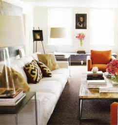 White And Orange Living Room by Living Room