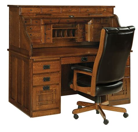 amish handcrafted mission arts crafts roll top desk office
