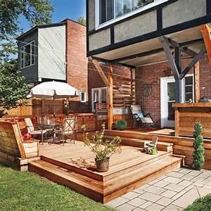 Banquette Bois Exterieur : patio banc bois recherche google outdoor patio roof patio et backyard patio ~ Farleysfitness.com Idées de Décoration