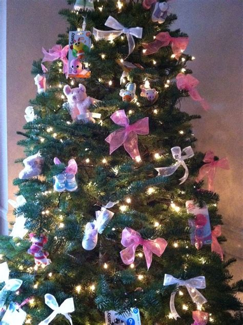 christmas tree decorated for baby shower cozy
