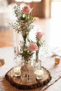 Centre De Table Champetre : centre de table rondin de bois ~ Melissatoandfro.com Idées de Décoration