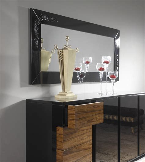 High Gloss Sideboard Black by High Gloss Black Sideboard With Walnut Drawers