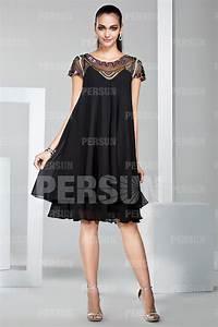 Robe Femme Ronde Chic : robe boh me courte noire encolure illusion perl e pour ~ Preciouscoupons.com Idées de Décoration