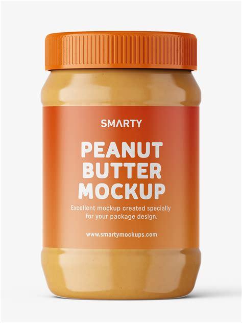 Creating glass jar mockup with custom product. Peanut butter jar mockup - Smarty Mockups