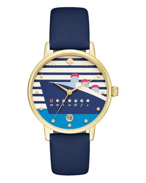 Kate Spade Cruise Ship Metro Watch In Blue (navy/gold) | Lyst