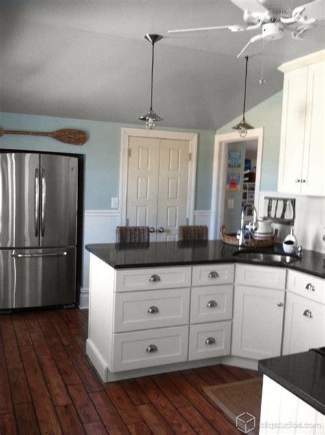 black  white beach cottage kitchen traditional