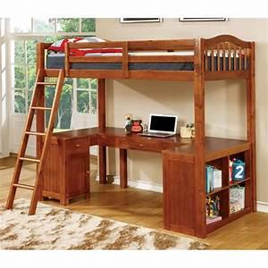 Furniture Of America Franklyn Twin Loft Bed With Desk In Oak IDF BK265A