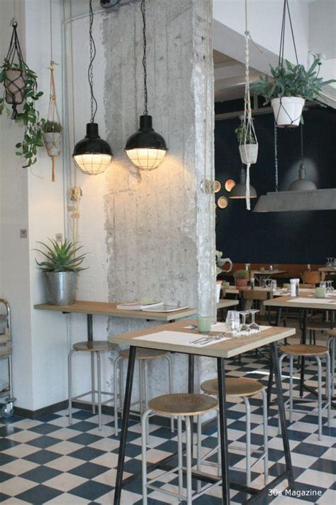 industrial interior touches   white small cafe