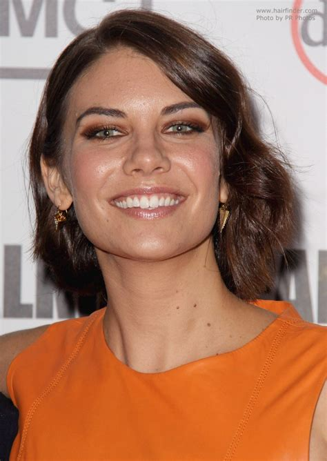 lauren cohan neck length hair  side swept bangs