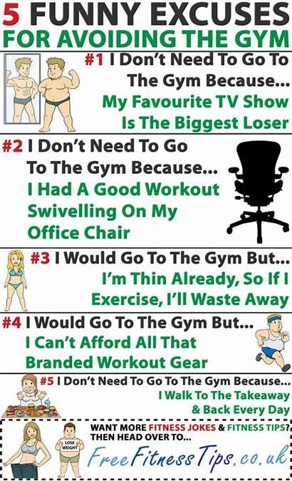 Excuses Funny Fitness Gym Jokes Workout Avoiding