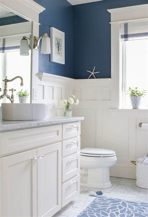 White Wainscoting Bathroom by Navy Blue And White Bathroom Home Bathroom Bathroom