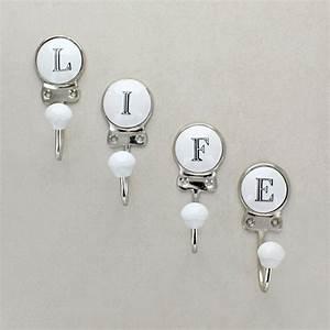 ceramic alphabet or number letter wall rack coat hooks by With alphabet letter wall hooks