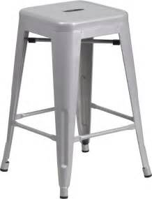 24 backless silver metal stacking counter height stool