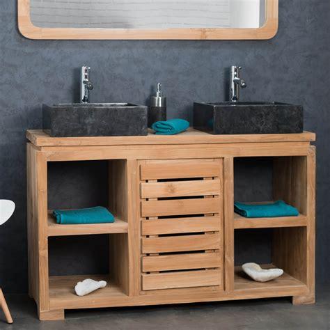 meuble sous vasque vasque en bois teck massif nature rectangle naturel l 120 cm
