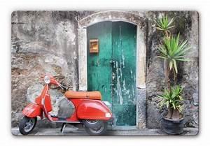 Wall Art Glasbilder : glasbild red scooter rotes moped als dekoidee wall ~ Frokenaadalensverden.com Haus und Dekorationen