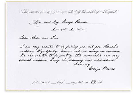 wedding response card wording rsvp etiquette traditional favor dinner options filled out
