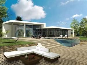 plan de maison moderne plain pied archionline With lovely maison toit plat en l 5 photo de maison de ville darchitecte toit plat