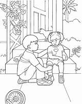 Lds Coloring Primary Printable Hurt Children Boy Colouring Mormon Comforts Template sketch template