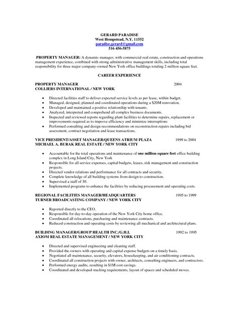 Real Estate Manager Resume Template by Professional Property Manager Real Estate Resume With Career Experience Expozzer