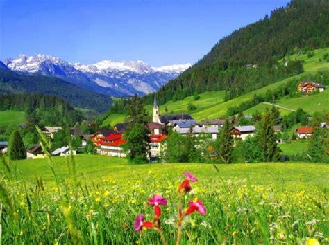 mountain village mountains nature background
